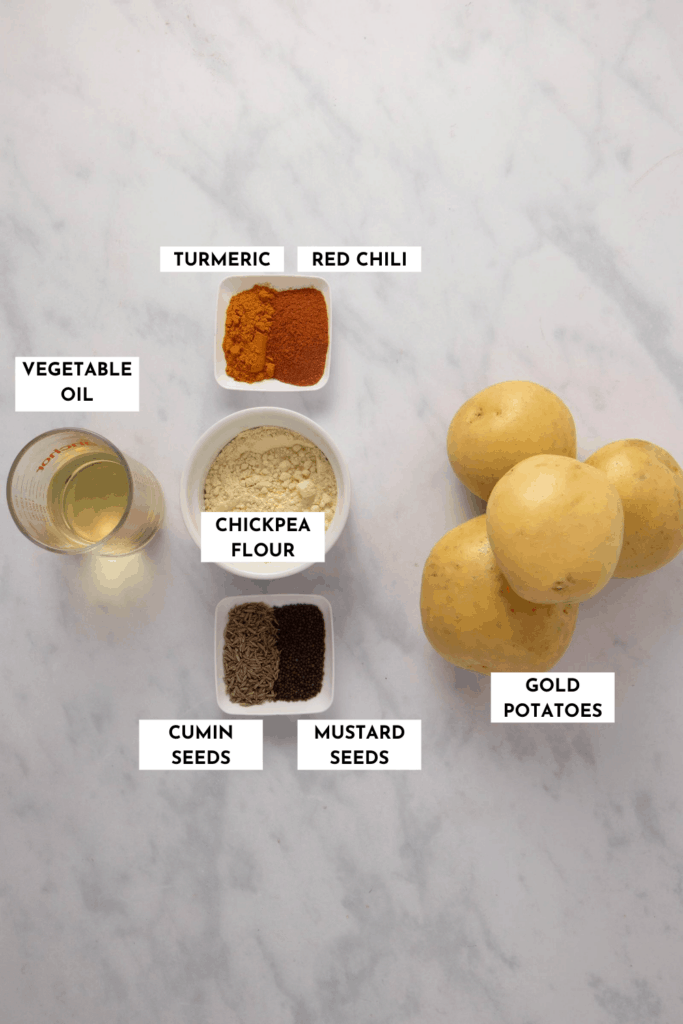 Labeled ingredient list for making Jeera Aloo - please refer to recipe card for actual ingredient list and quantities!