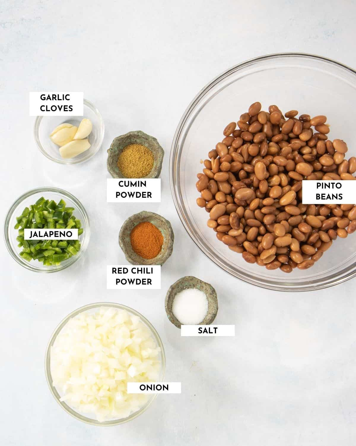 Labeled ingredient list for vegan refried beans  - check recipe card for details!