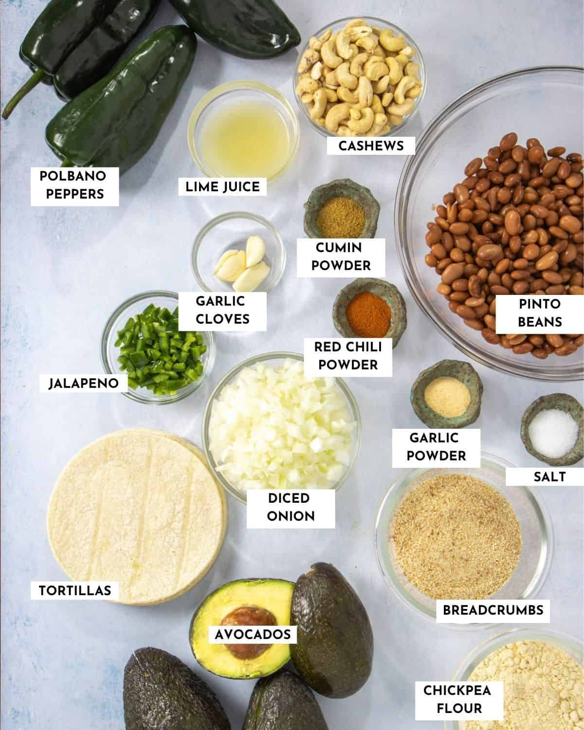 Labeled ingredient list for making fried avocado tacos - check recipe card for details!