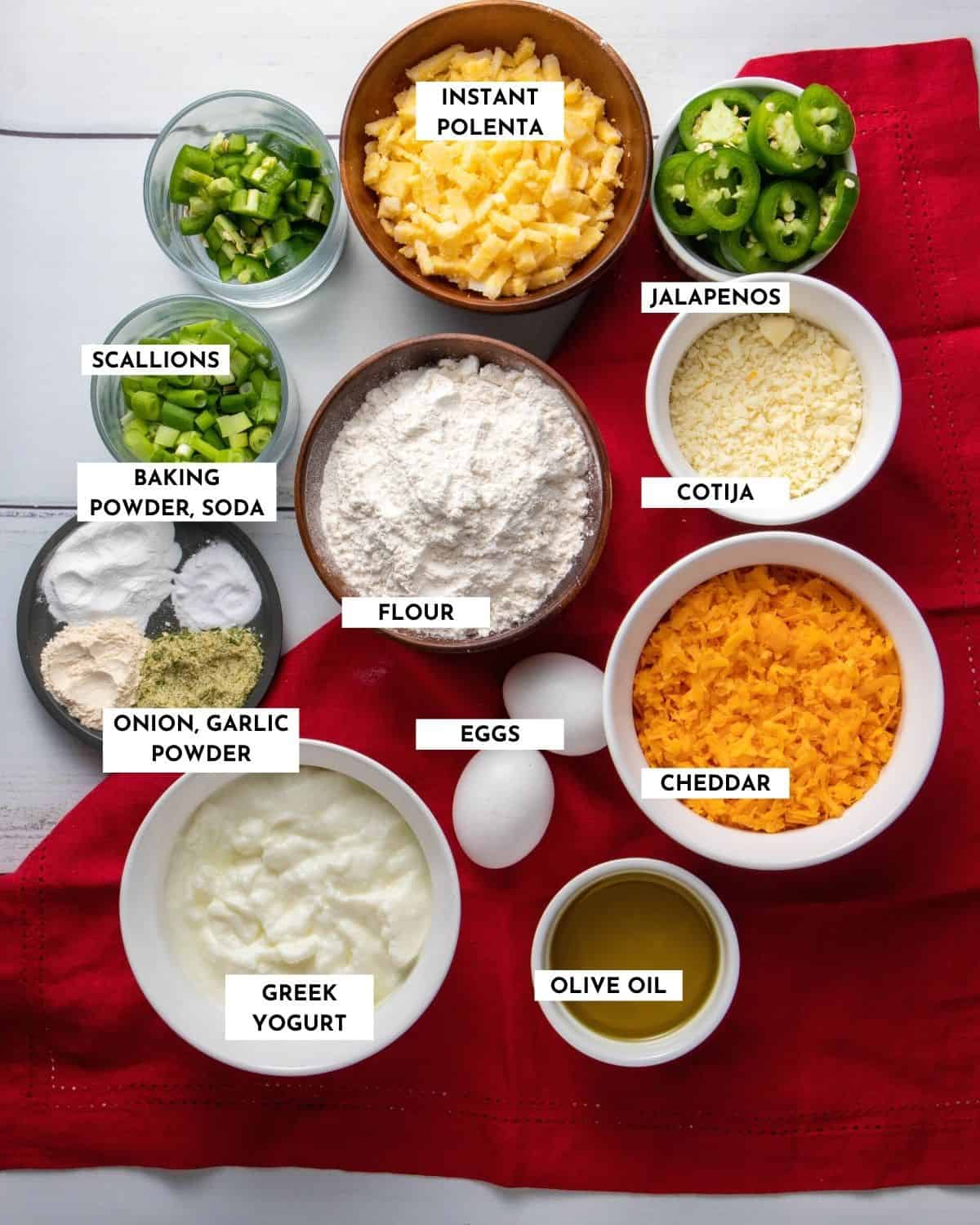 Labeled picture showing all the ingredients needed for skillet cornbread, sorted by dry / batter / toppings