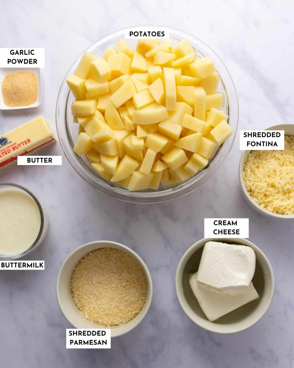 Labeled picture of ingredients for cheesy mashed potatoes - refer to recipe card for details!