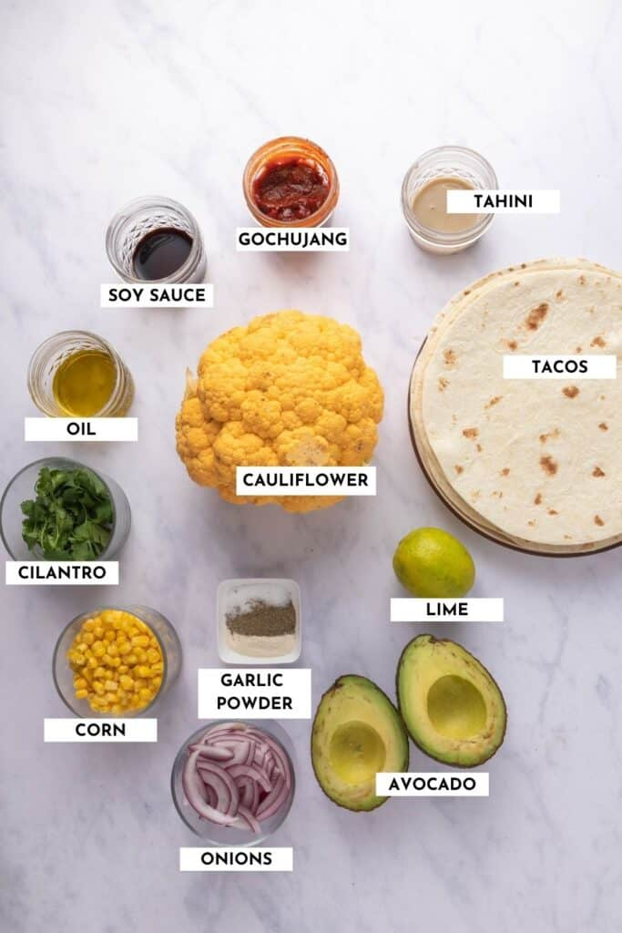 Labeled list of ingredients for making these tacos - actual list and quantities in recipe card!