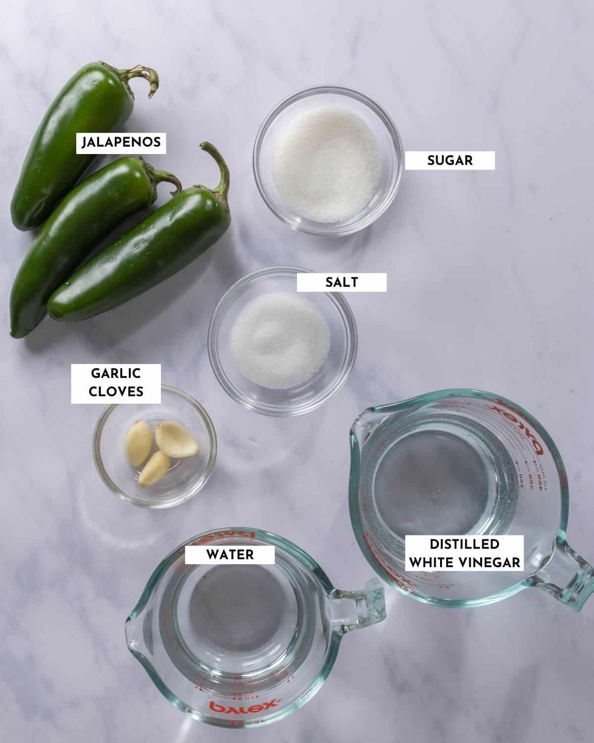Labeled ingredients for jalapeno pickles - details in recipe card