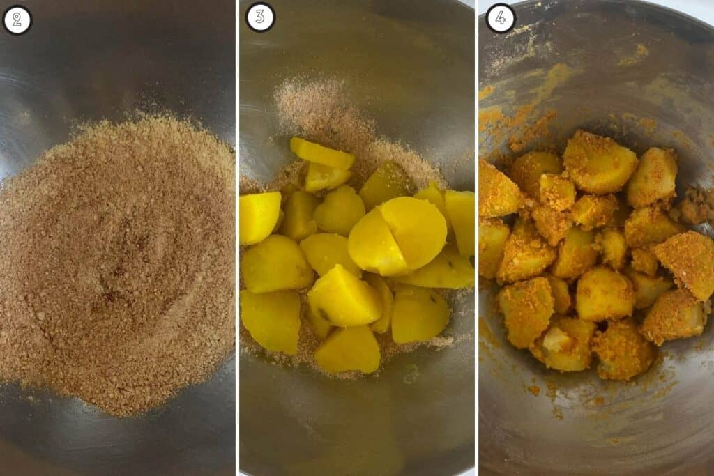 Three step collage showing the spice mix, and how to dredge the potatoes in the spice mix