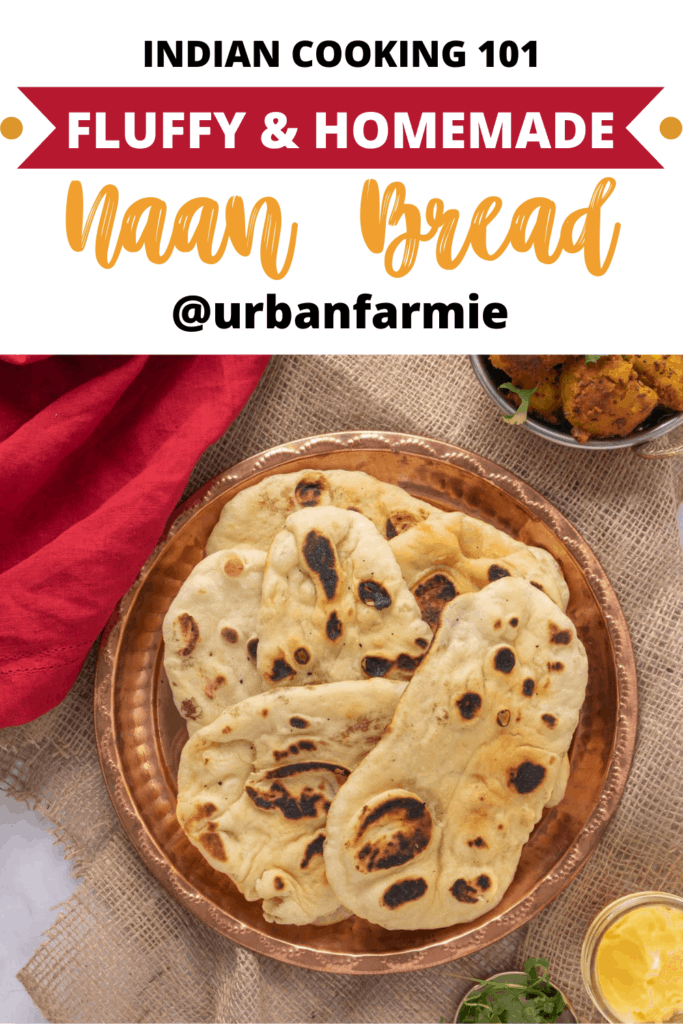 Pinterest graphic showing homemade naan bread