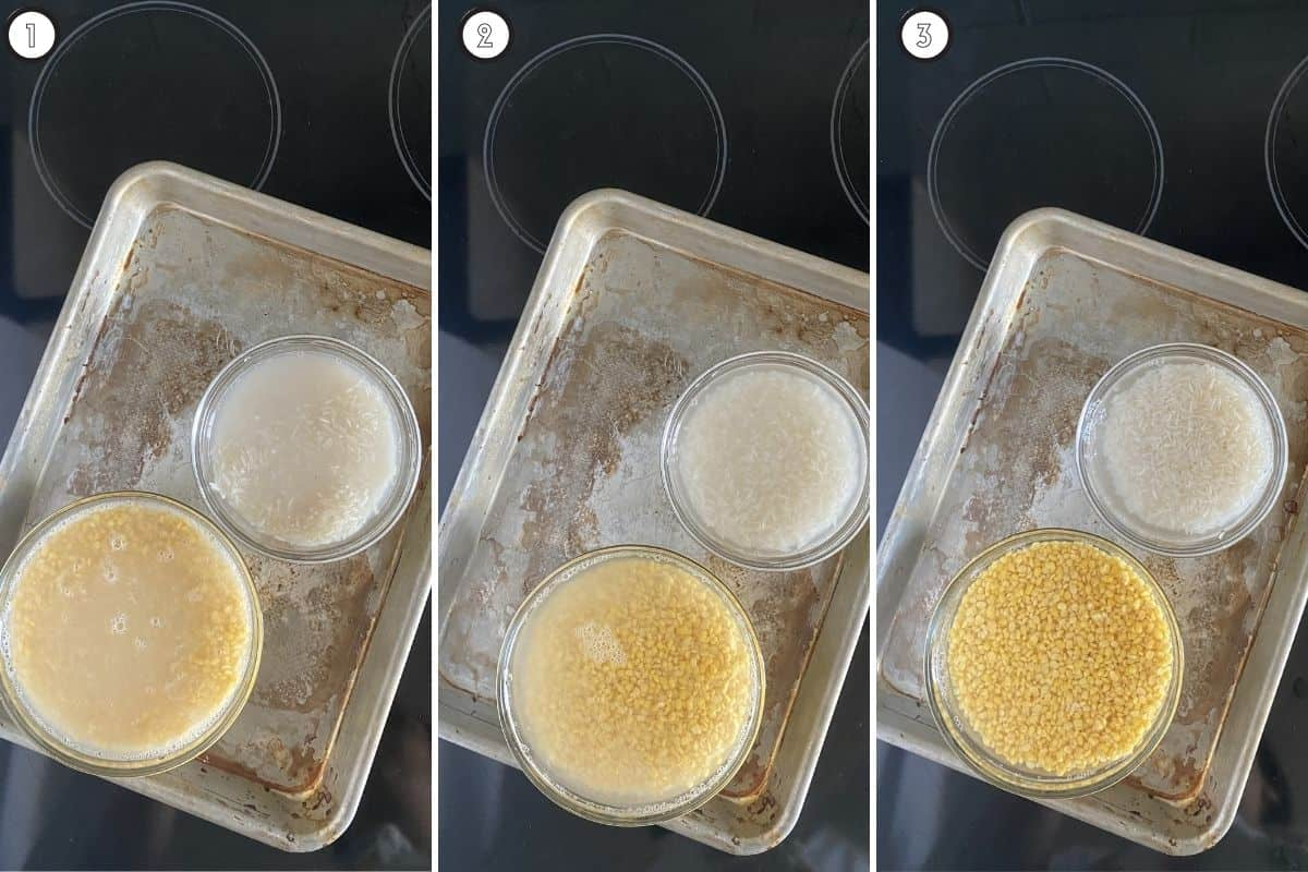 Three panel collage showing how water runs clear after washing rice, dal three times