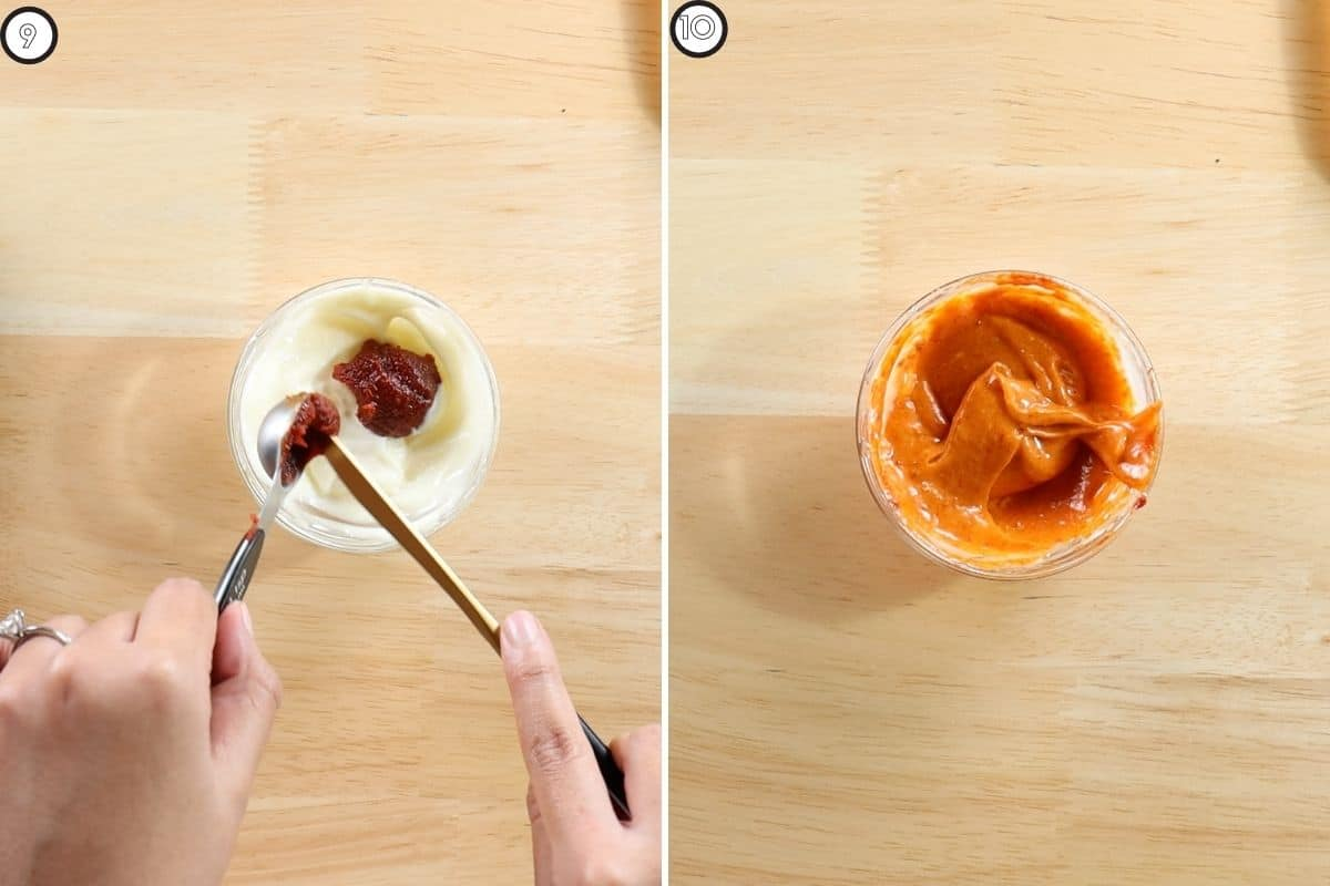 Two panel collage showing how to make gochujang aioli