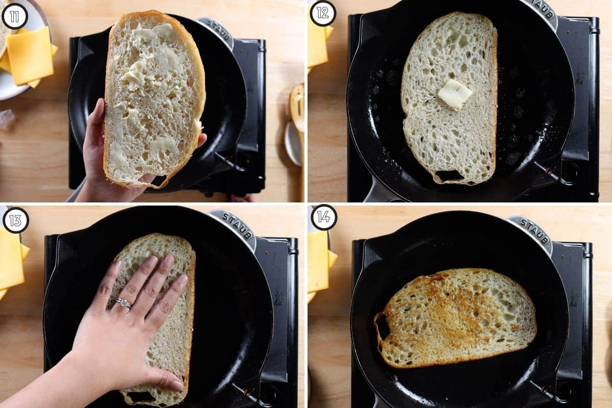 Four panel collage showing how to toast bread for Gilgeori toast