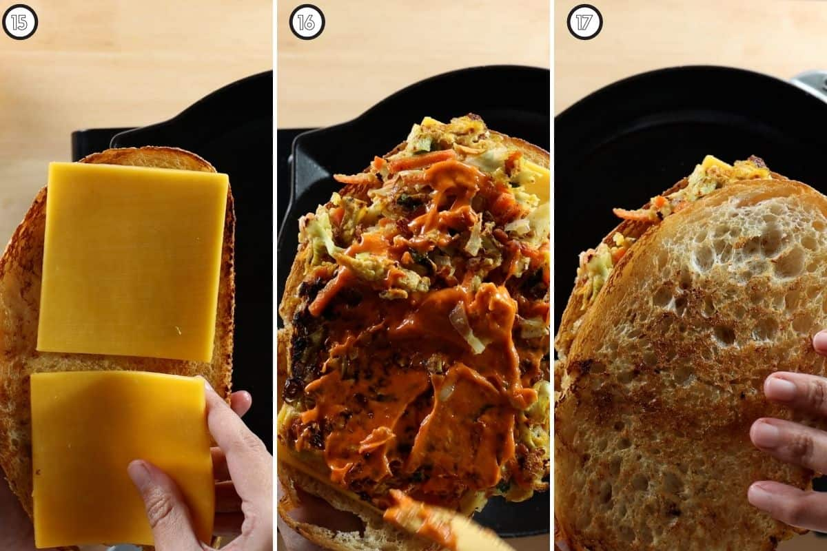 Three panel collage showing how to assemble the final sandwich