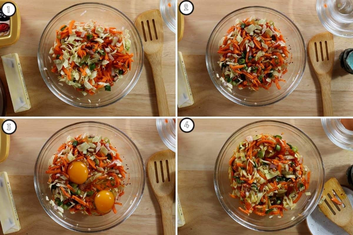 Four panel collage showing how to mix vegetables and egg