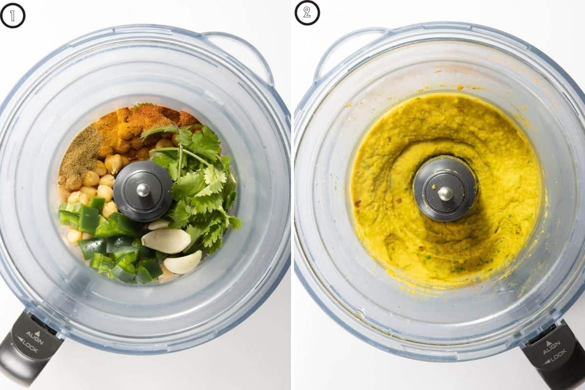 Two panel collage showing before and after pulsing in food processor