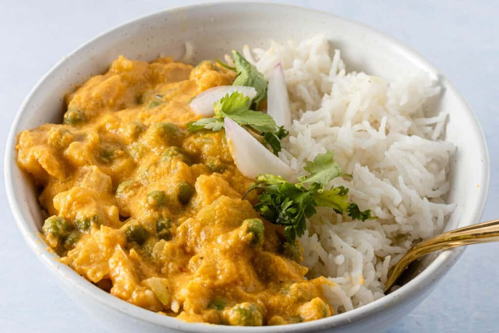 Bowl of vegetable korma with some rice and a spoon