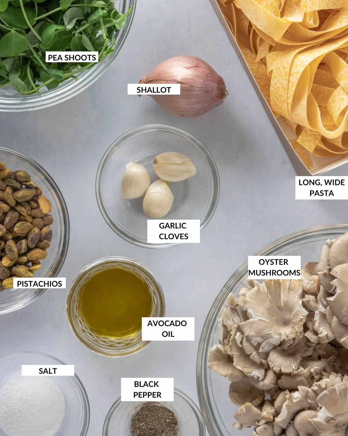 Labeled ingredient list for pasta - check recipe card for details!
