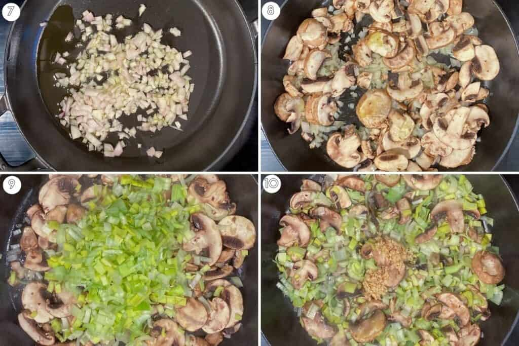 Four step collage showing saute of shallots, mushrooms, leeks and garlic