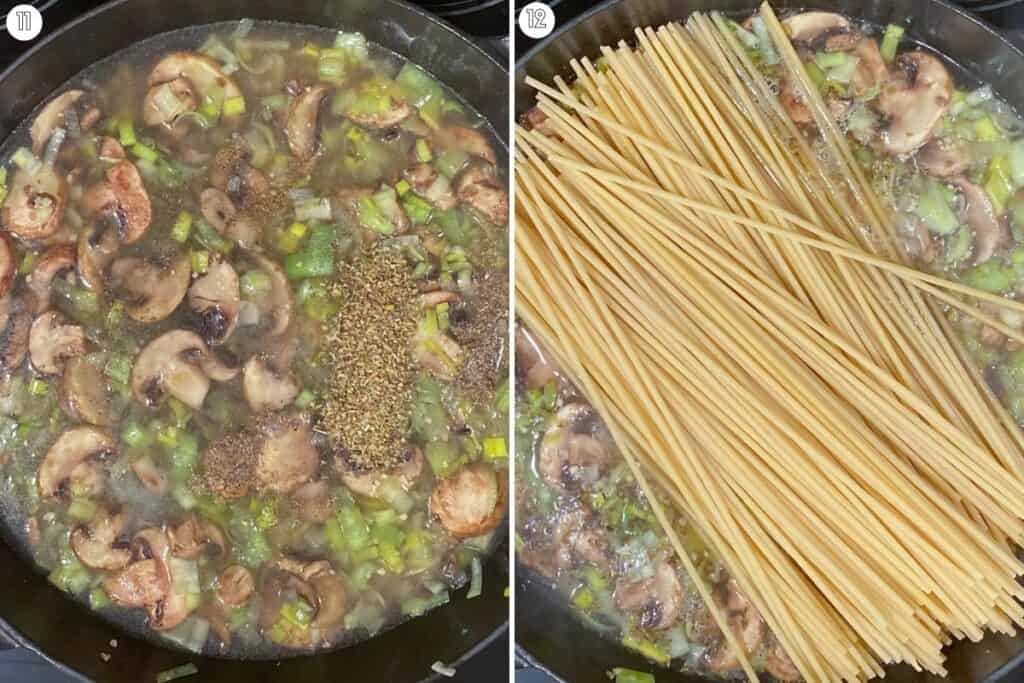 Two part collage showing boiling liquid and adding pasta