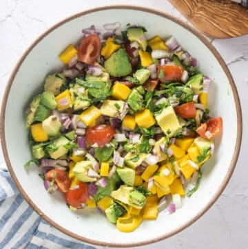 Close up of mango avocado salad