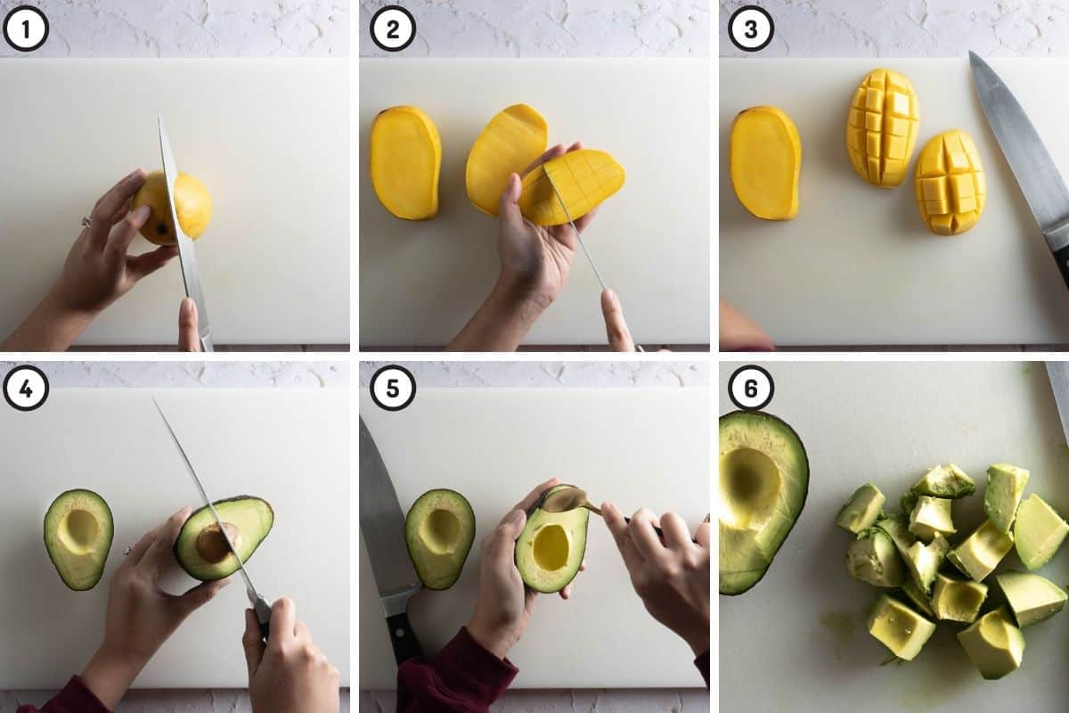 Six panel collage, top three show how to slice mangoes; bottom three show how to slice avocados
