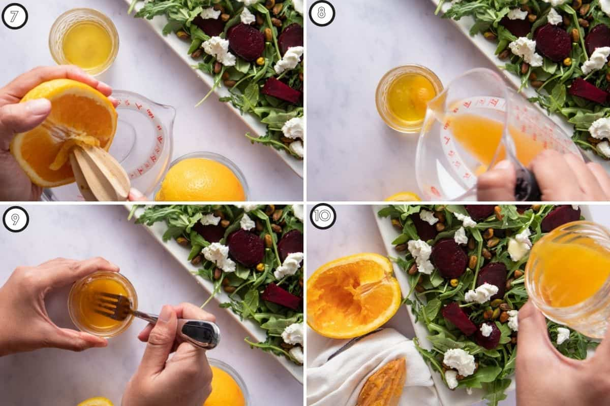 Four step collage showing how to make grapefruit vinaigrette