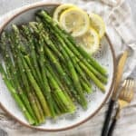 Close up crop of microwave asparagus finished dish