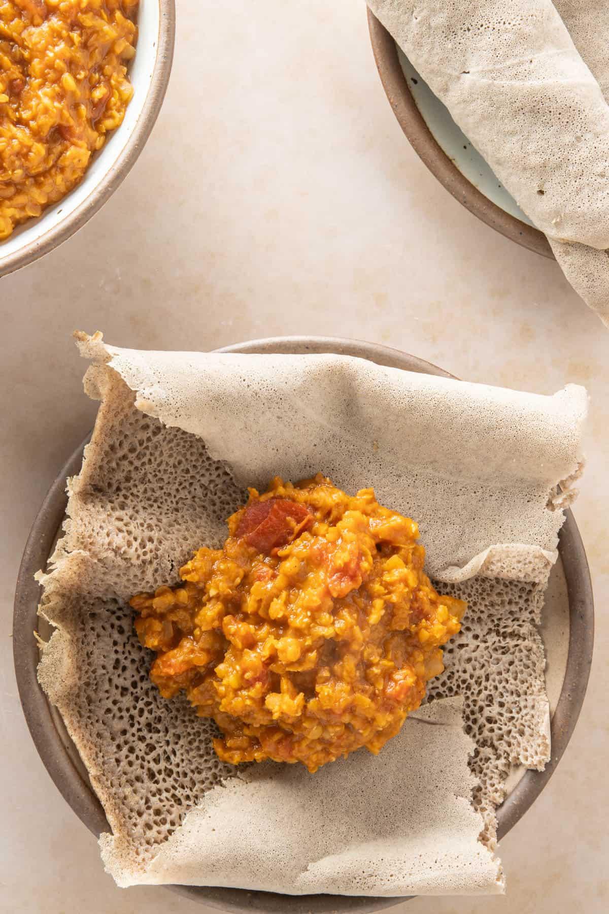 Misir Wot on injera flatbread on a plate