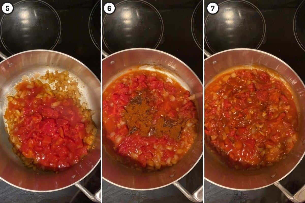 Three panel collage showing how to add tomatoes and spices to make the base of Misir Wot