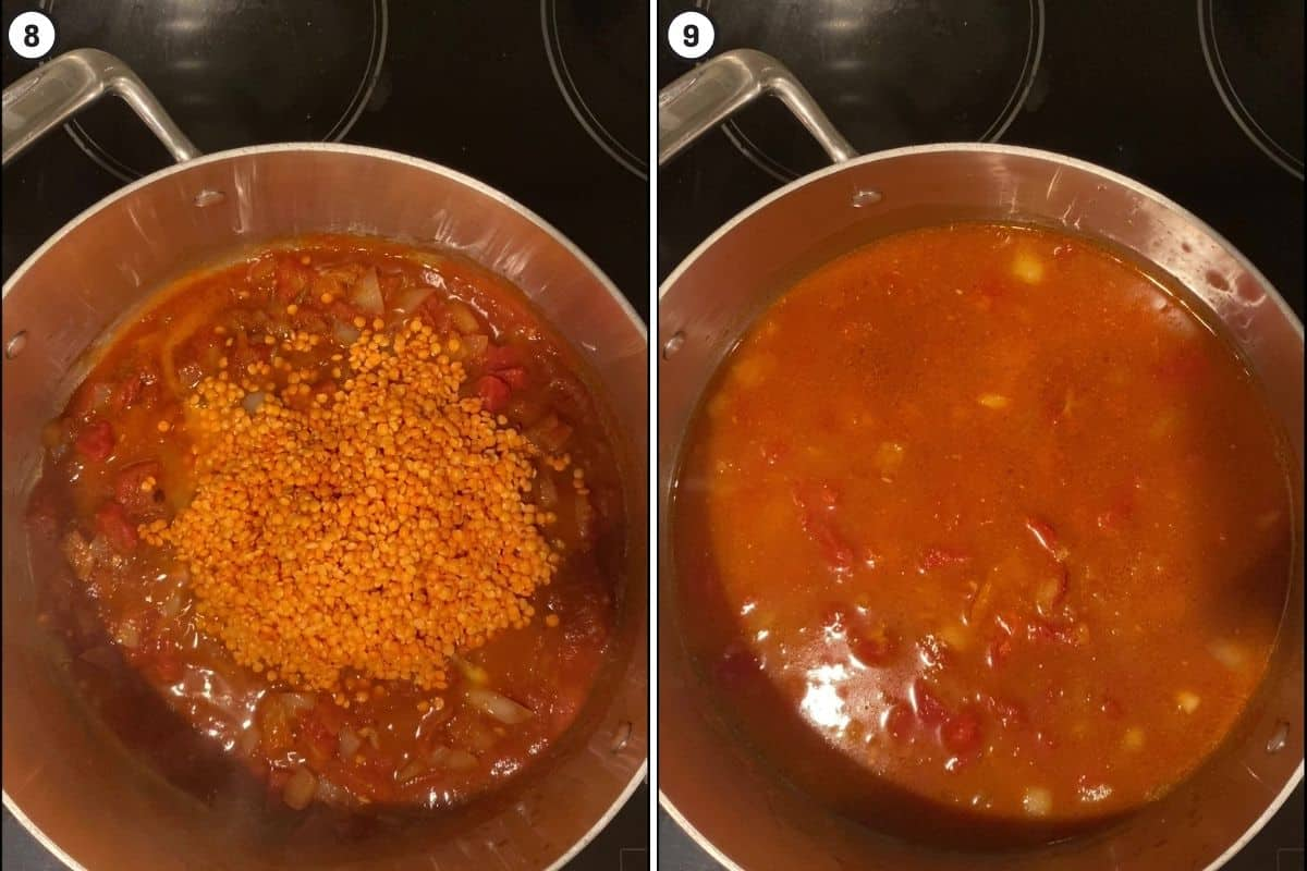 Two panel collage showing lentils and water added to pot to finish cooking dish