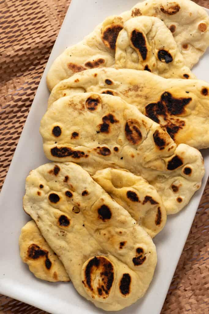Naan on serving platter