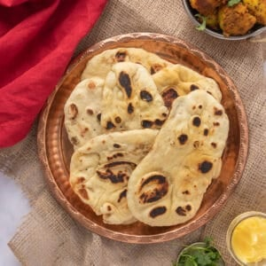 Close up of naan on plate