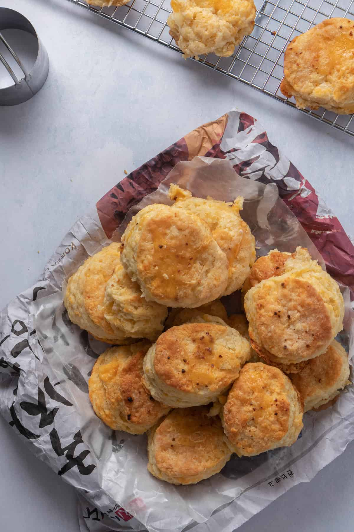 Bowl of cheddar biscuits!