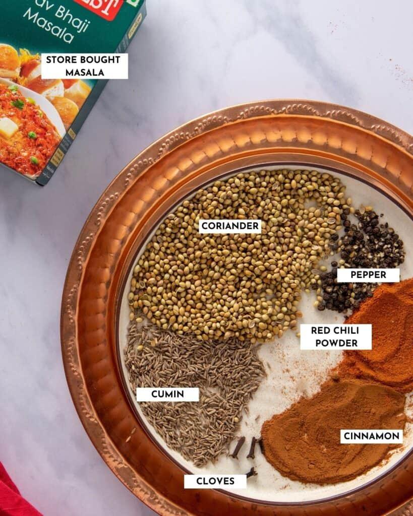 Ingredients for making pav bhaji masala