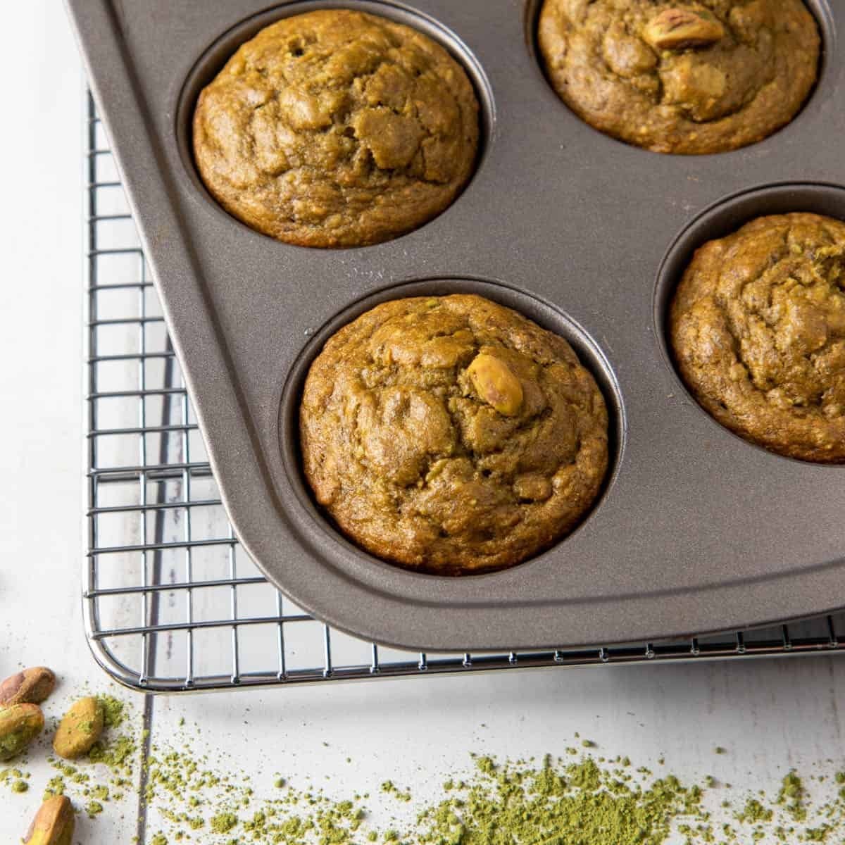 Close up of pistachio muffin