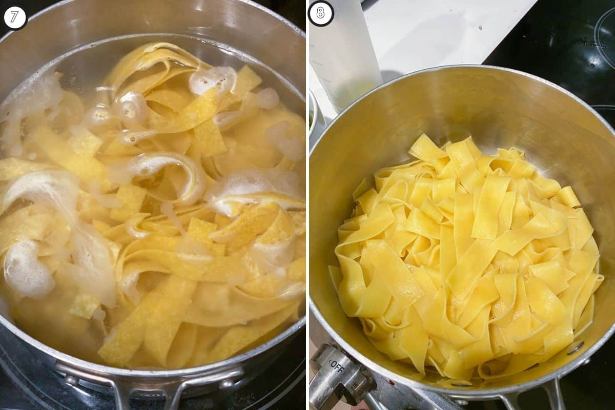 Two panel collage showing pasta cooking
