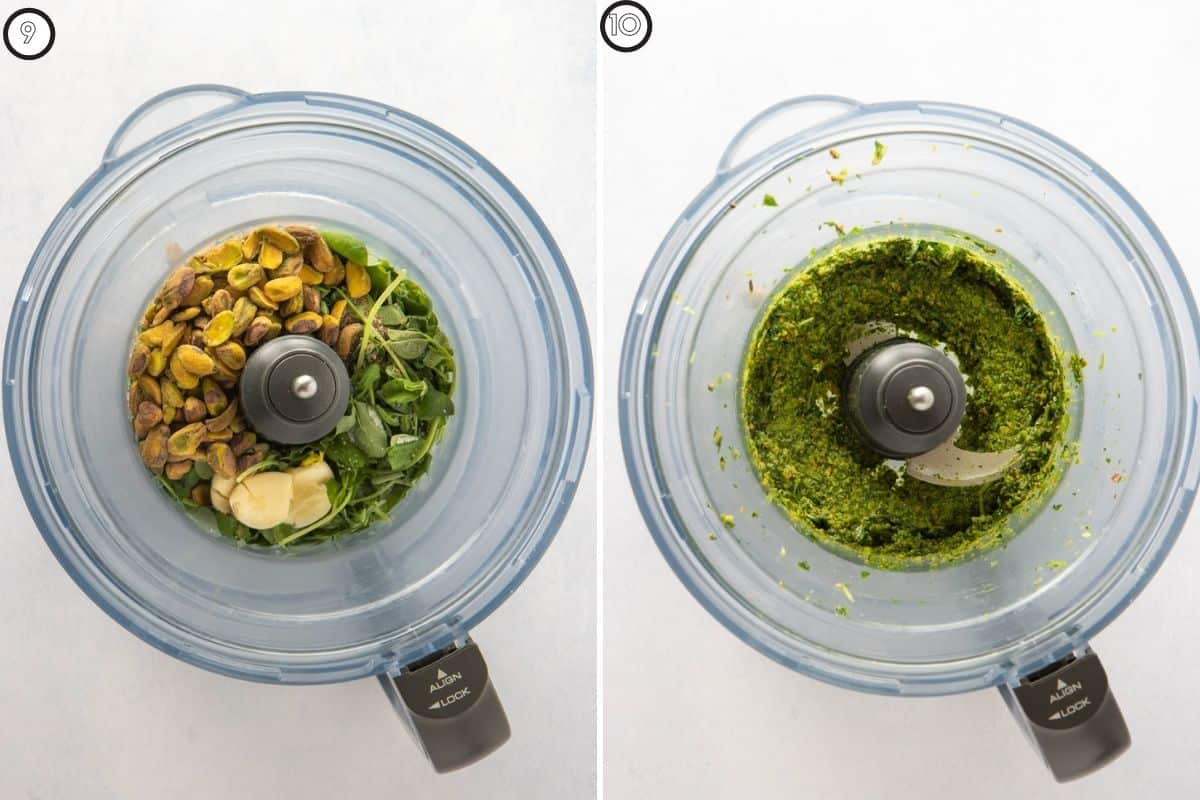 Two panel collage showing pea pesto before and after