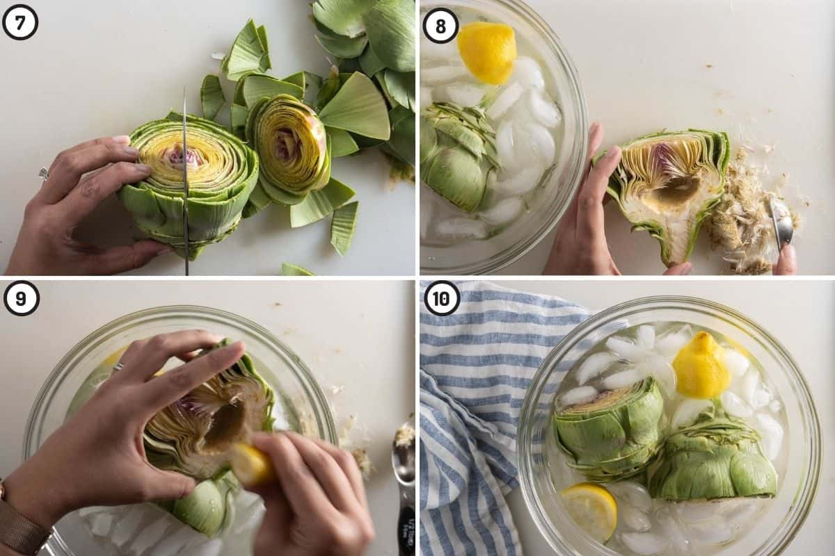 Four panel collage showing how to remove the choke, rub lemon and store in ice lemon water until ready to air fry