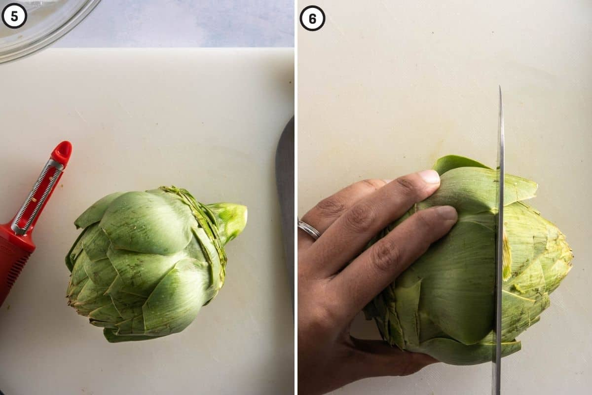 Two panel collage showing outer leaves removed, and where to slice the top part of the artichoke off