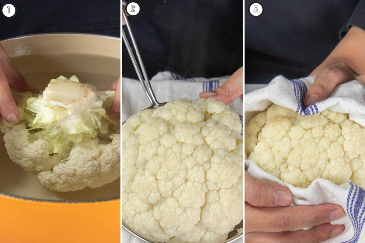 Three step collage showing how cauliflower head is boiled and dried