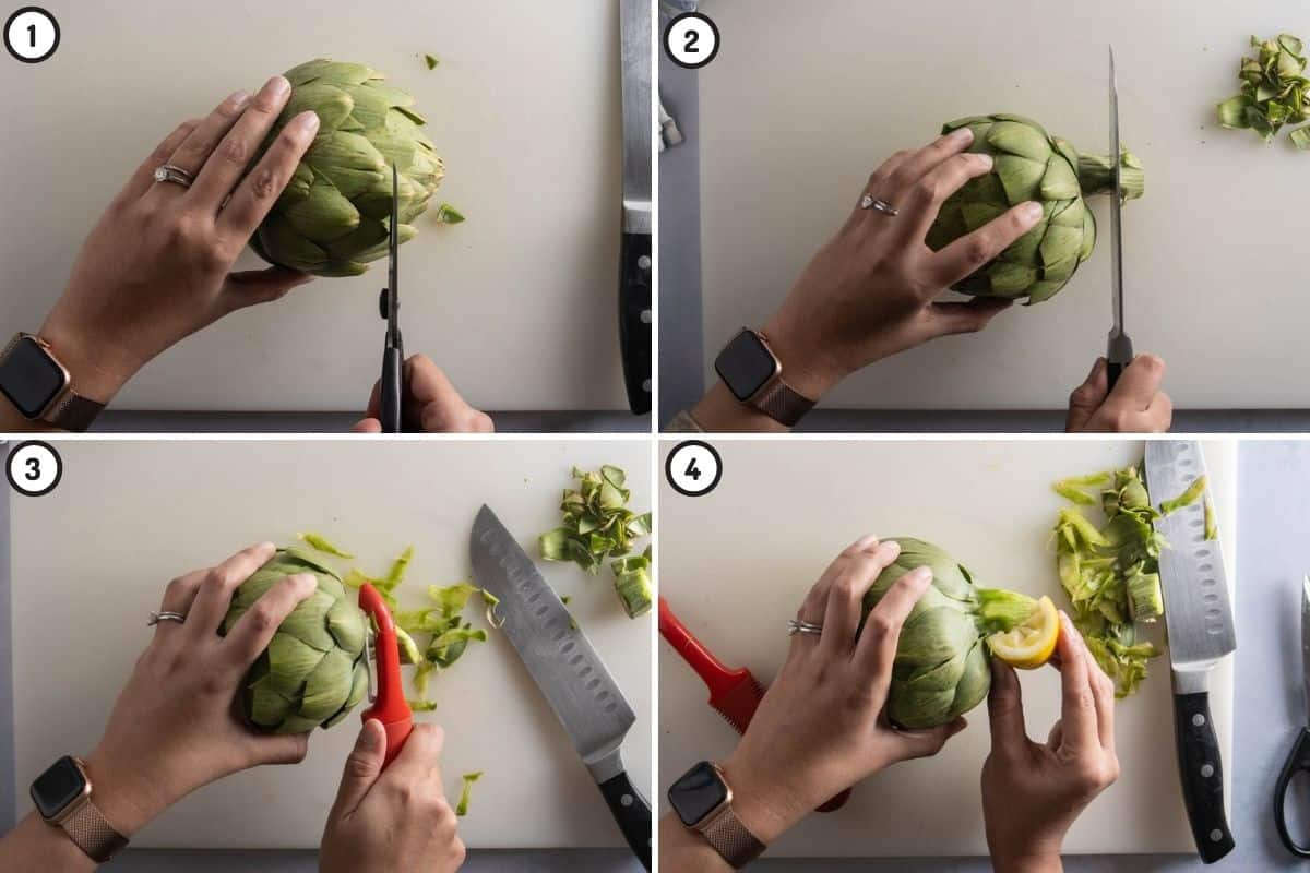 Four panel collage showing how to snip outer leaves, slice and prepare the stem of the artichoke