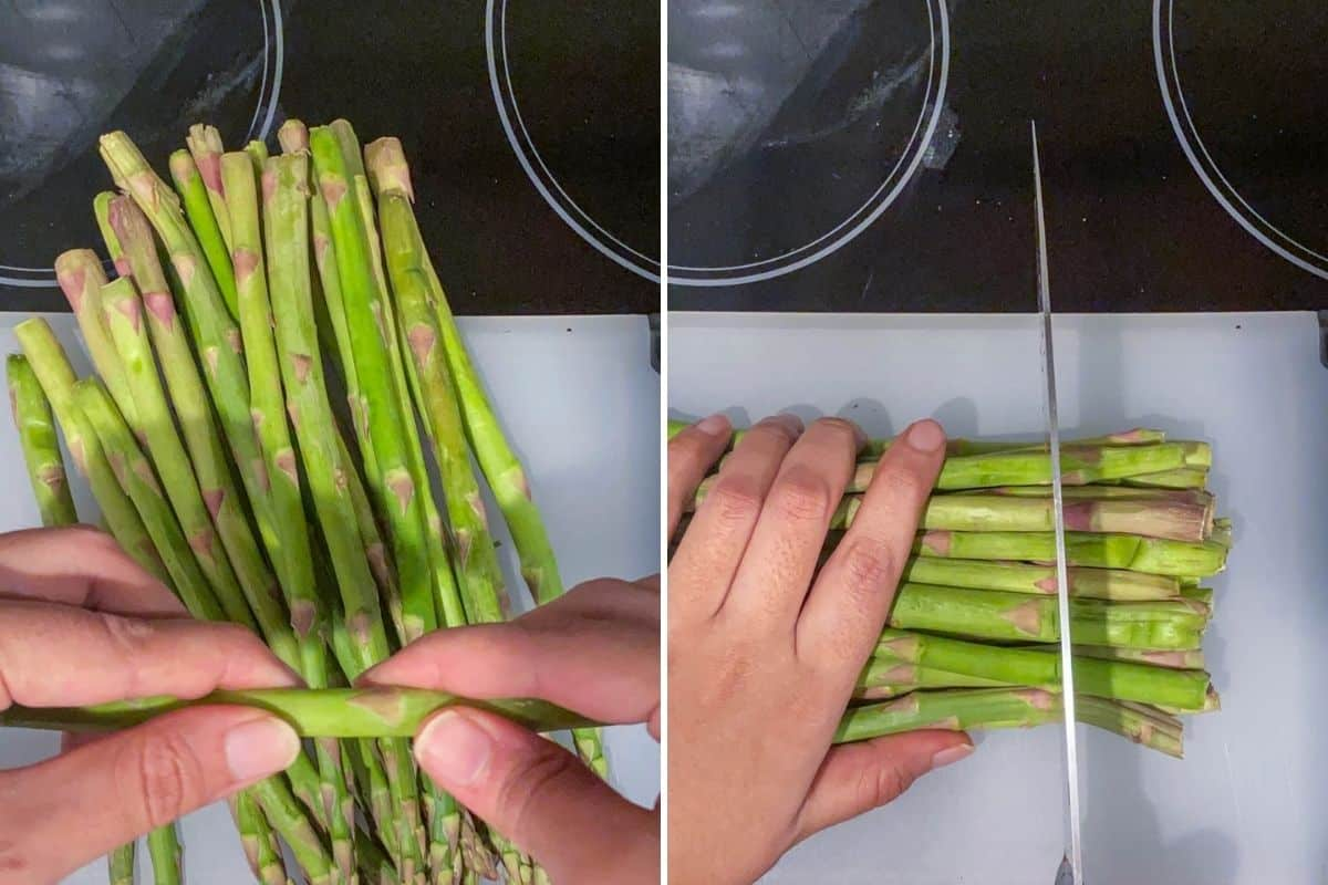 Two panel collage showing two ways to trim asparagus - by hand or with a knife