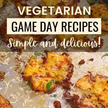 Graphic showing smashed potatoes and game day recipes text overlay