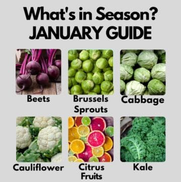 Collage of produce items that are in season in January - read post for more details!