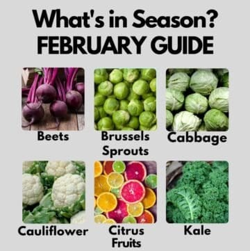 Collage of vegetables that are in season in February