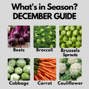 Collage with fruits and veggies in season in December - full list in post