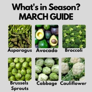 Cropped collage showing seasonal ingredients for March