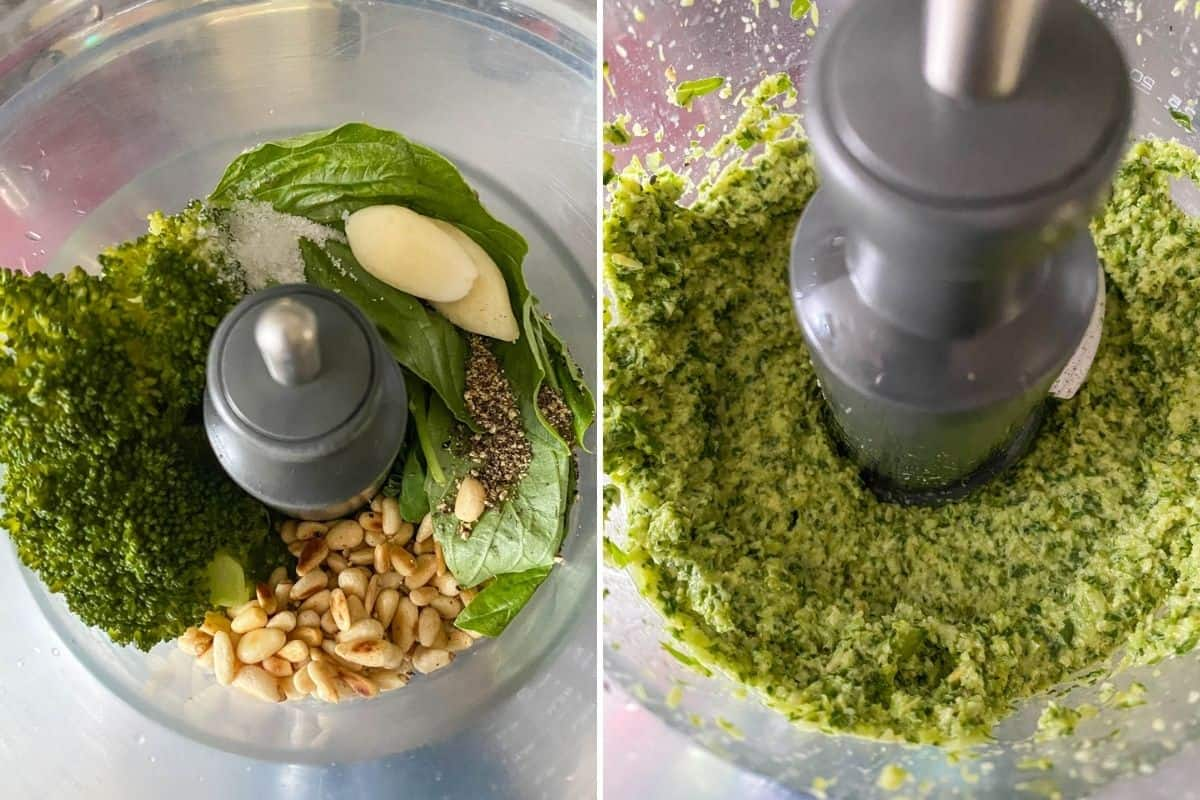 Two step collage showing ingredients in food processor, then pulsed product