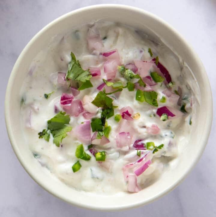 Close up of bowl of Indian raita