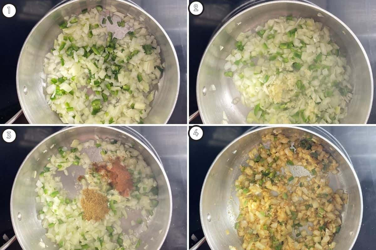 Four panel collage showing how to sauté and spice aromatics for refried beans
