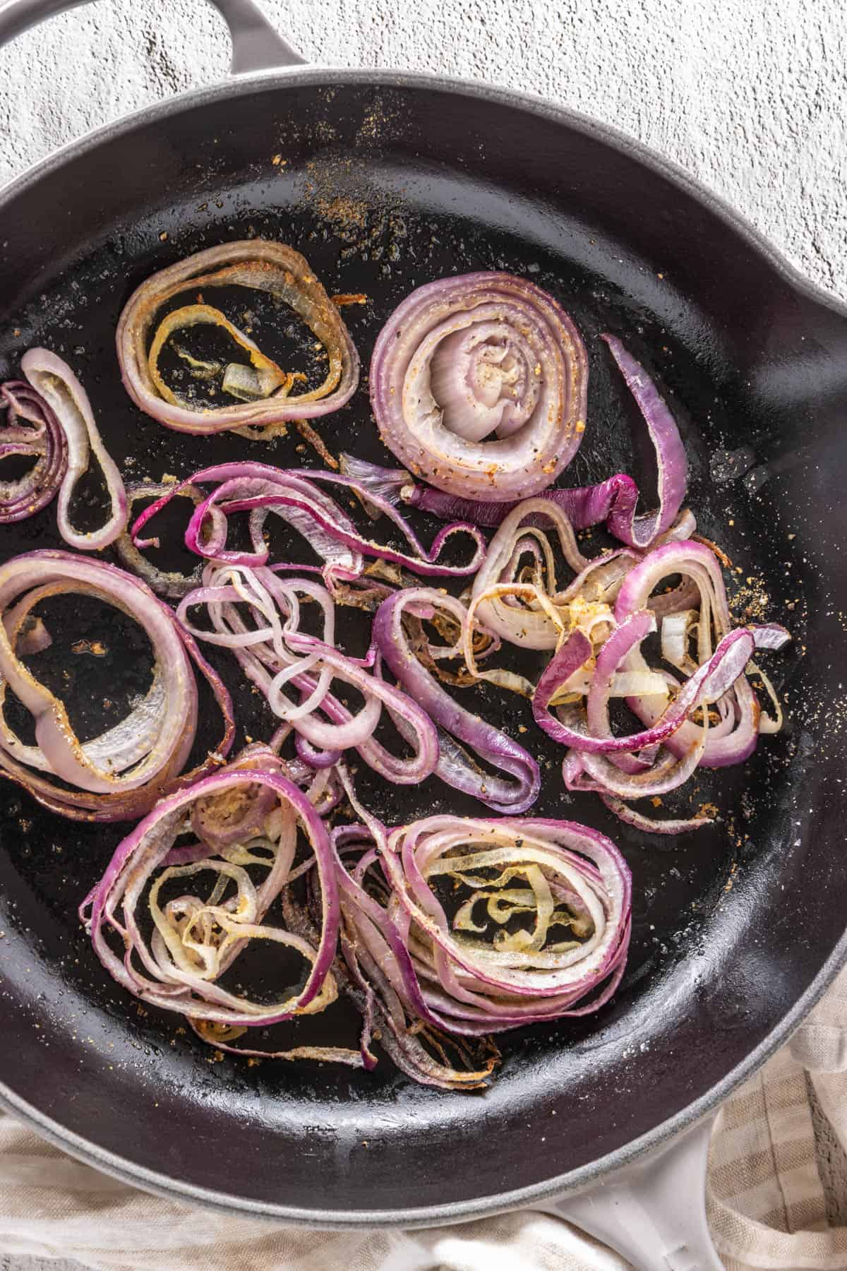Fully roasted red onion at the end of the 20 minutes!