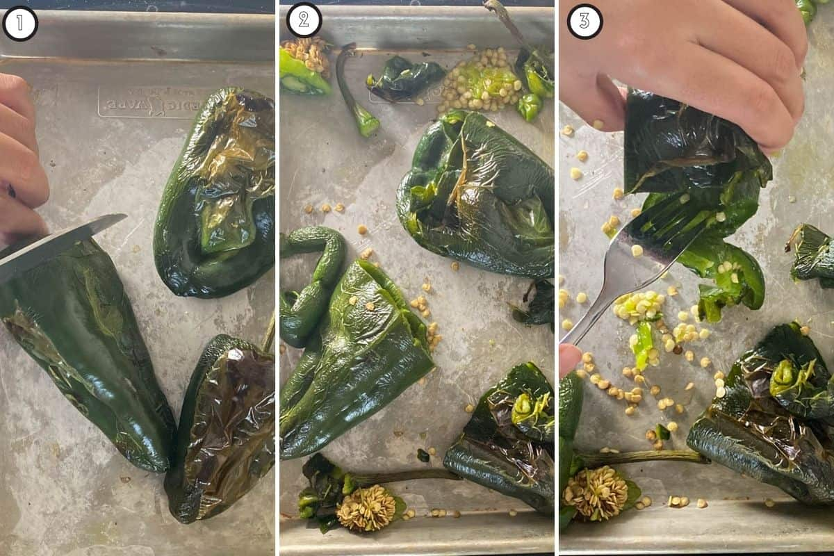 Three step collage for roasting poblano peppers