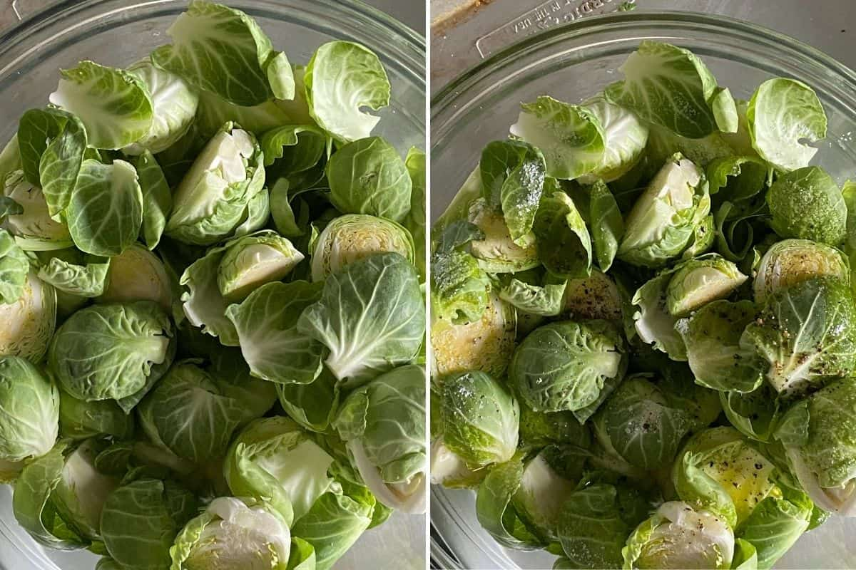 Two panel collage showing prepared Brussels sprouts, and after they're seasoned