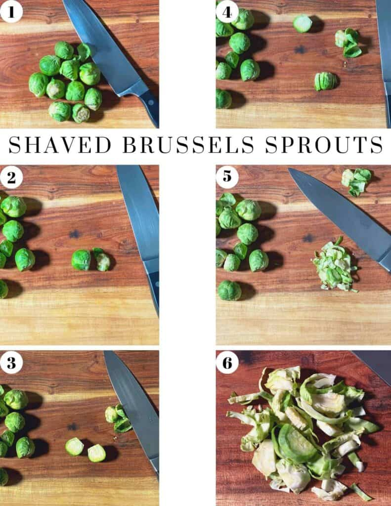Step by step instructions on shaving Brussels sprouts with just a knife. Then you're ready to make this delicious vegan, Brussels Sprouts Caesar Salad.